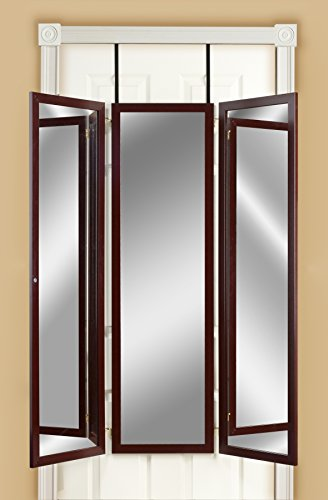 Mirrotek 3VU1448CH Triple View Professional Over The Door Dressing Mirror with 4 -