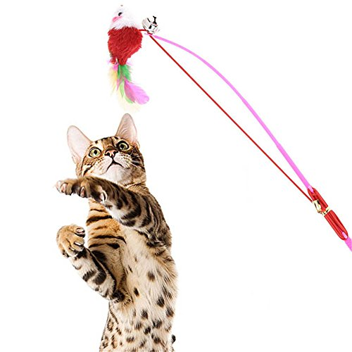 2249dc0f9712 Zeroyoyo Plush Mouse Flying Funny Pet Cat Kitty Toys Feather Teaser Catcher Cat  Toy Wand for