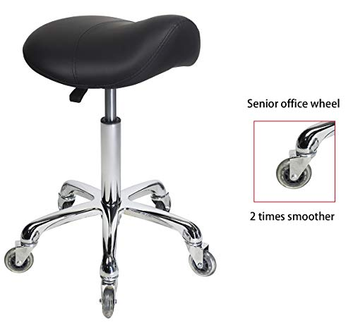 (Saddle Stool Rolling Ergonomic Swivel Chair for Dental Office Massage Clinic Spa Salon,Adjustable Hydraulic Stool with Wheels (Black))