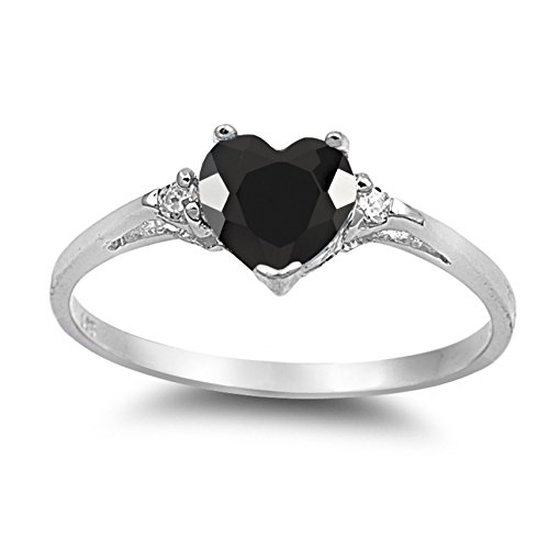 925 Sterling Silver Faceted Natural Genuine Black Onyx Heart Promise Ring Size 7
