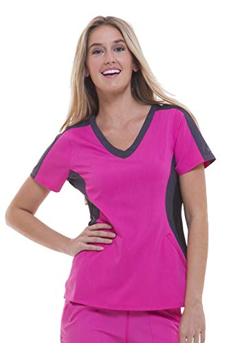 healing hands Purple Label Women's Jewel 2298 V-Neck Top Scrubs- Shocking Pink- XS