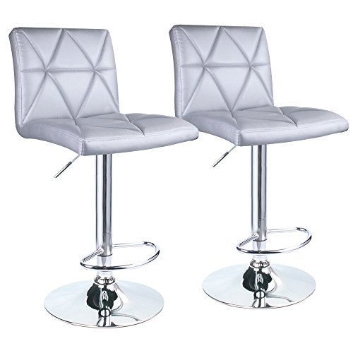 Leader Accessories Bar Stool,Silver Hydraulic Square Back Diagonal Line Adjustable Bar Stools,Set of 2 (Bar Accessory Set)