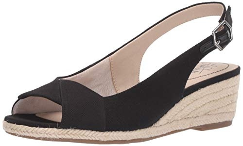 LifeStride Women's Socialite Espadrille Wedge Sandal, Black, 6 M US