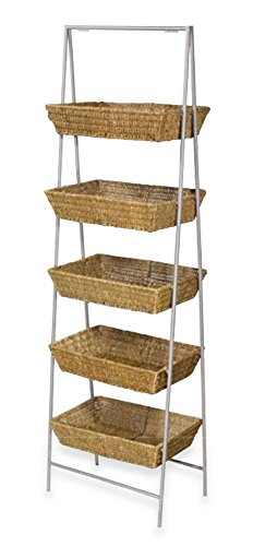 5 Tier Wicker Dump Bin Basket Stand Retail Merchandise Display Multi-level NEW