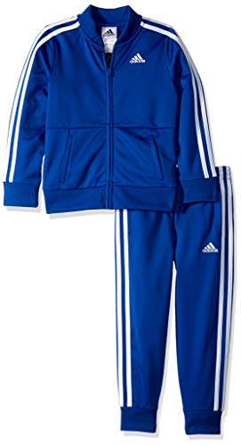 adidas Boys' Toddler Tricot Jacket and Pant Set, Hombre Ruin Dark Royal 2T