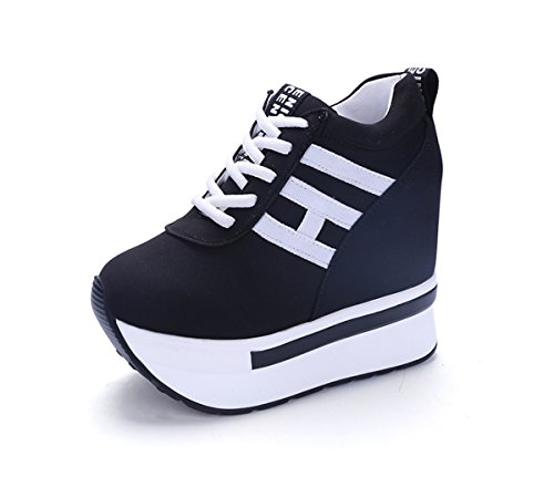 YC WELL Womens Increased Within The Higher Flat Shoes Casual High Heels Wedge Platform Sneaker Flat shoes Lace Up Wedges Canvas (8, Black)