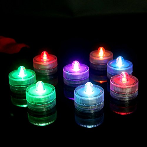 Advocator 24PCS Submersible Waterproof Wedding Centerpieces Underwater Mini Bright Tea Lights LED Flickering Flameless Candle with Battery Operated for Outdoor Camping -Multi Colors (Floating Mini)