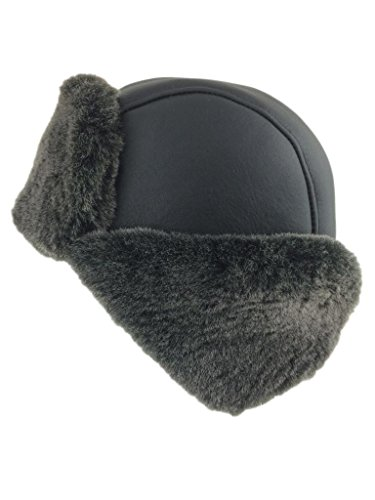 bbdeaa49fe2 Zavelio Men s Shearling Sheepskin Aviator Russian Hat Large Black