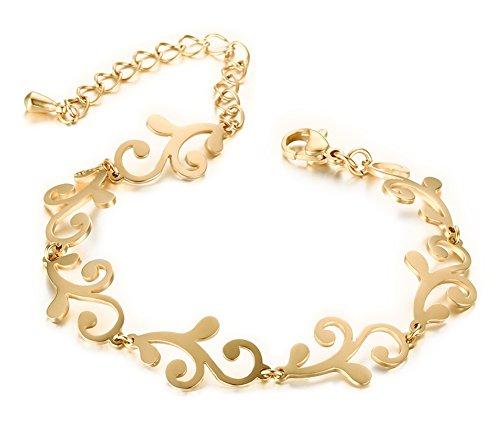 Huanian Jewelry Stainless Steel 18k Gold Totems Flower Pattern Link Chain Bracelets for Women (Gold Flower Link)