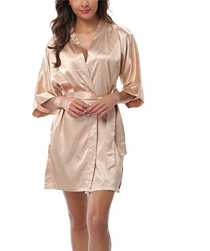 FADSHOW Women's Satin Short Kimono Robes Bridesmaids Lingerie Robes Bathrobes,Champagne