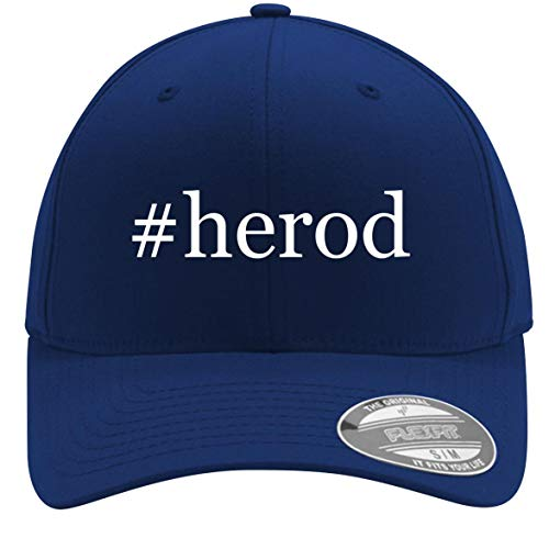 #Herod - Adult Men's Hashtag Flexfit Baseball Hat Cap, Blue, Small/Medium