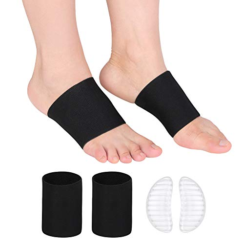Arch Support Sleeves with Gel Pads, Flat Foot Arch Support Compression Brace Socks for Heel Spurs, Flat Foot and Plantar Fasciitis Pain Relief, Fits for Both Women and Men (Pairs)