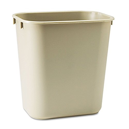 Wastebaskets Standard (Rubbermaid Commercial 295500BG Deskside Plastic Wastebasket Rectangular 3 1/2 gal Beige)