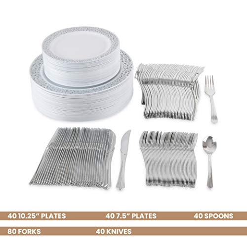 80 Disposable Plastic Plates | Durable White China Like Dinnerware | 160 Upscale Collection Plastic Silverware Set | Excellent for Weddings, Fine Dining, Birthday Parties | White (240 Ct)