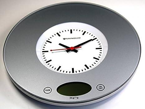 Shin ELCO BC6200 plata báscula digital de cocina y reloj de pared reloj de pared de diseño reloj de cocina escala de carta de sobremesa 3 kg/1 G: Amazon.es: ...