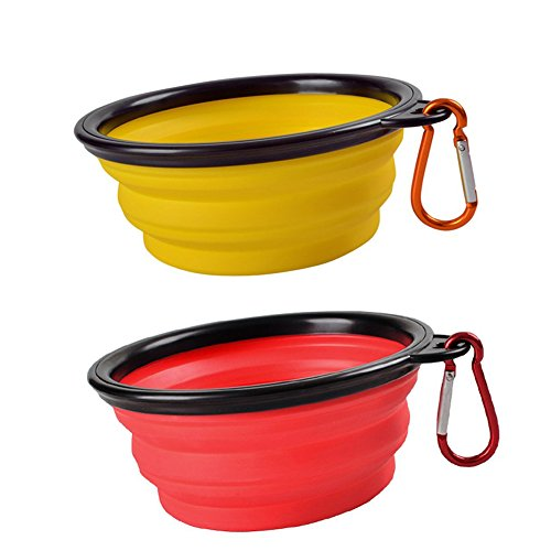 Sabuy Collapsible Dog Travel Bowl, Set of 2 Pet Pop-up Food Water Feeder Foldable Bowls with Carabiner Clip, Red and Yellow