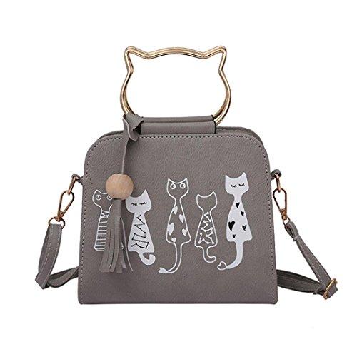 IEason Animal Messenger Bag Women Handbags Cat Rabbit Pattern Shoulder Crossbody Bag (Gray)
