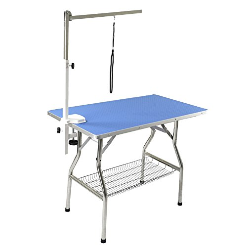 Flying Pig 44″x24″ Large Heavy Duty Stainless Steel Frame Foldable Pet Grooming Table, Blue