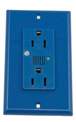 Leviton 7280-B 15-Amp, 125-Volt, Decora Plus Duplex Receptacle, Straight Blade, Industrial Grade, Self Grounding, Surge with Indicator Light, Blue
