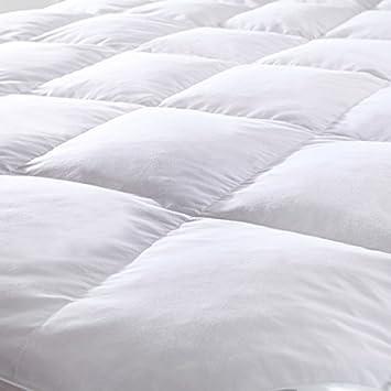 Anti Polvo y ácaros Protector de colchón, delicado tacto agradable de plumas de ganso 100% algodón matrimonio: Amazon.es: Hogar