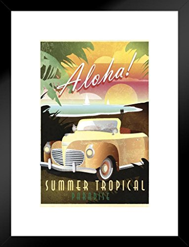 Poster Foundry Aloha Summer Tropical Paradise Hawaiian Art Deco Travel Art Print Matted Framed Wall Art 20x26 inch