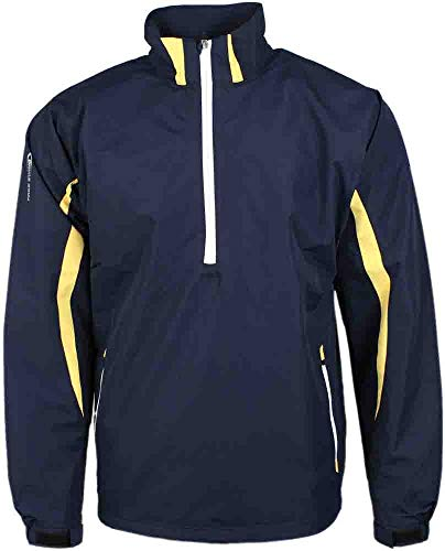 PAGE & TUTTLE Mens Colorblock Windshirt Golf Athletic Outerwear Jacket Navy - Pullover Long Windshirt Sleeve