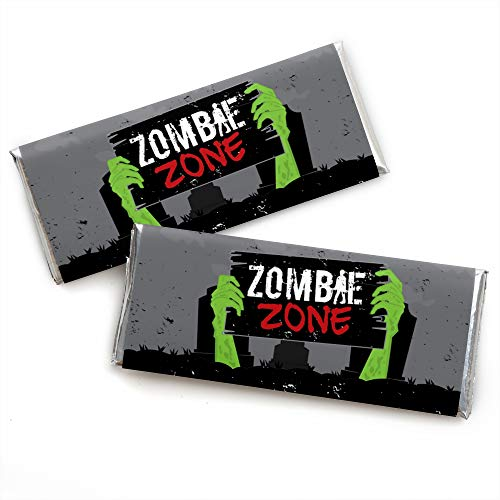 Zombie Zone - Candy Bar Wrapper Halloween or Birthday Zombie Crawl Party Favors - Set of 24 -