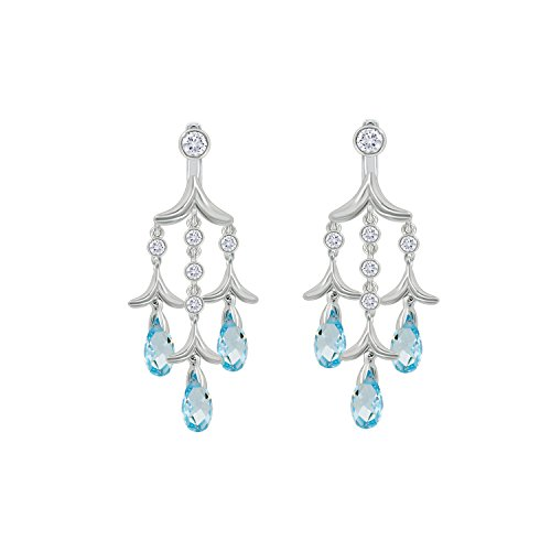 Aqua Brass Cut Collection - Nicole Miller Briolette Triple Drop Chandelier Earrings Jackets- Rhodium Plated Brass, Ceated Blue Aquamarine