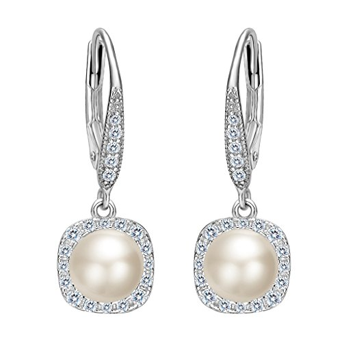 EVER FAITH Womens 925 Sterling Silver CZ 6MM Freshwater Cultured Pearl Elegant Dangle Earrings Clear