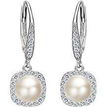 EVER FAITH Women's 925 Sterling Silver CZ 6MM Freshwater Cultured Pearl Elegant Dangle Earrings Clear