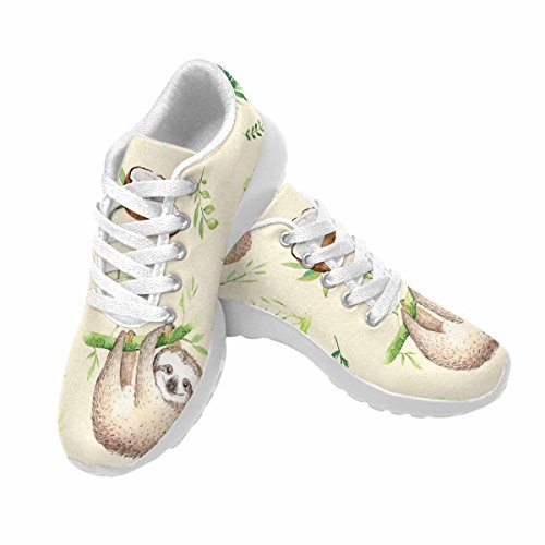 D-story Jogging Running Sneaker Bradipo Haning On Tree Womens Casual Comfort Sport Walking Scarpe Da Corsa Bianco