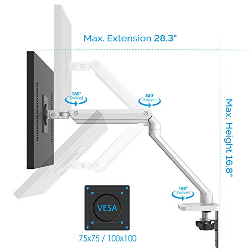 Bemorergo Adjustable Single Monitor Desk Mount Stand, Full Aluminum Gas Spring Single Arm Desk Vesa Mount w/ 2-in-1 Heavy Duty Base, Fits 17-32 inch LCD/LED PC Monitors-Sleek Ergonomic Design(White)