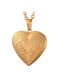U7 Engraved Flower Heart Charm Pendant Photo Locket Necklace with 22 Inch Chain Gold/Platinum/Rose Gold