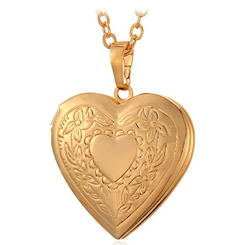 Childrens Heart Locket (U7 Women 18K Gold Plated Heart Photo Locket Pendant Necklace)