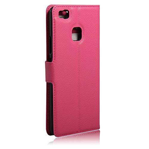 Manyip Funda Huawei P9 lite,Caja del teléfono del cuero,Protector de Pantalla de Slim Case Estilo Billetera con Ranuras para Tarjetas, Soporte Plegable, Cierre Magnético(JFC5-16) E