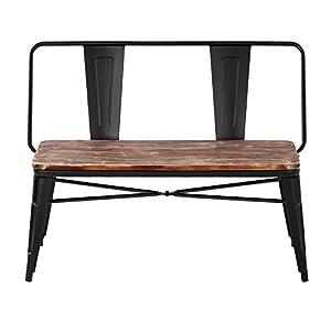 iKayaa 2 Seater Kitchen Dining Bench Chair W/ Backrest Natural Pinewood Top Metal Frame Patio Garden Bench Furniture…