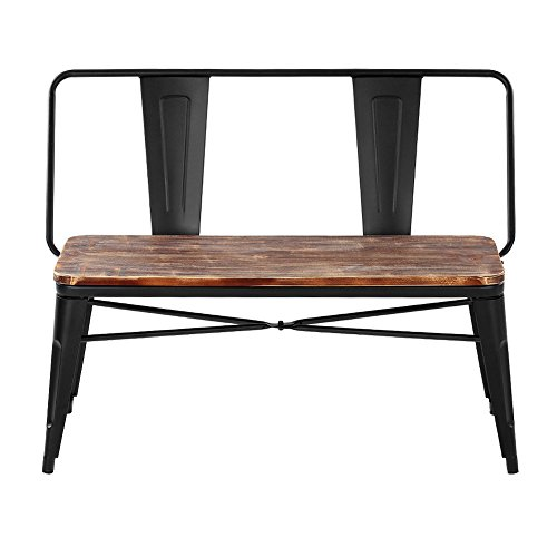 iKayaa 2 Seater Kitchen Dining Bench Chair W Backrest Natural Pinewood Top Metal Frame Patio Garden Bench Furniture 150KG Capacity