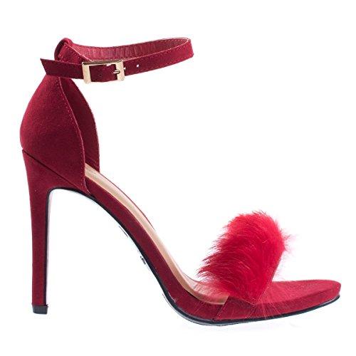 Red Fur Fluffy Sandal Faux Heel High Faux Feathery Dress Fluffy nPqIxaz