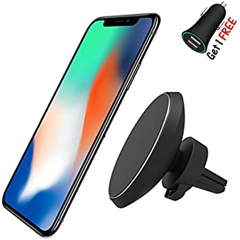 Magnetic QI Wireless Car Charger Mount, Neotrix Mobile Cell Phone Air Vent Magnet Car Cradle Charging Holder for iPhone 8 8 Plus X Samsung Galaxy Note 8 S8 Plus S7 S6 Edge Note 5 and Others Qi Devices