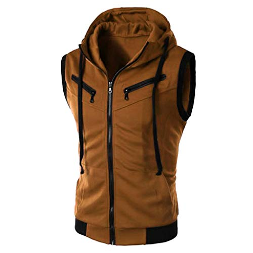 TIFENNY Fashion Hoody for Men Summer Casual Sleeveless Hooded Sport Vest Zipper Pure Color T-Shirt Tops Blouse Cardigan Brown