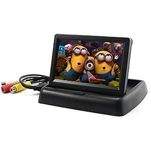"""Nueva venta caliente 4.3 """"Monitores TFT LCD de ayuda al aparcamiento de coches plegable plegable color de alta definiciš®n monitor auto coche de la pantalla de la CC 12V para el estacionamiento marcha atrš¢s"""