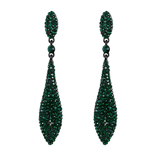 (EVER FAITH Women's Austrian Crystal Double Waterdrop Bridal Pierced Dangle Earrings Green Black-Tone)