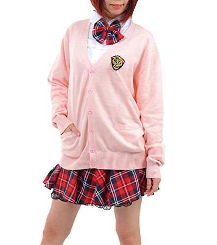 Anime Uniform Costumes School (TOKYO-T Japanese School Girl Uniform Costume Outfit With Pink (S,)