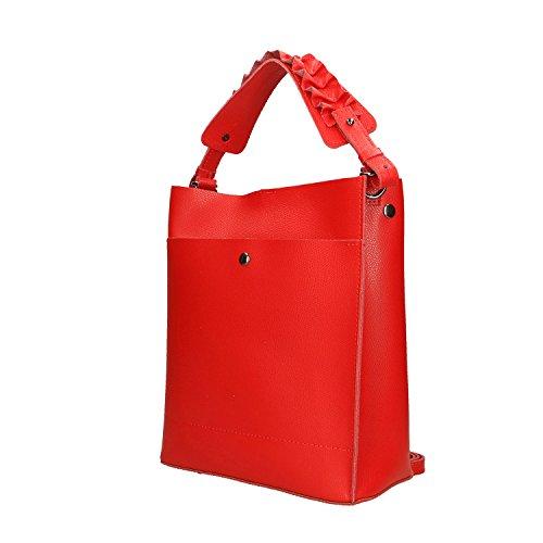 Rojo Italia Borse Genuina Mujer Cm 24x28x12 Piel Fabricado En Bolso Chicca TRqgnvOg