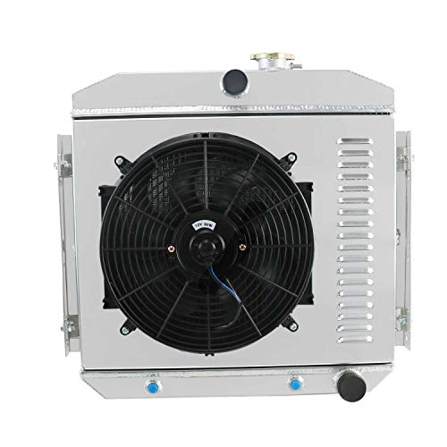 CoolingCare 1955-1957 Chevy Aluminum Radiator+ Shourd w/Fan, 2 Row Core Radiator for Bel Air/Del ray/ 150/210 V8 ()