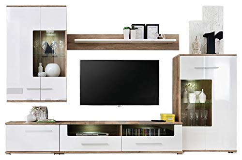 MEBLE FURNITURE & RUGS Saala 2 Entertainment Center Wall Unit with LED Lights 60