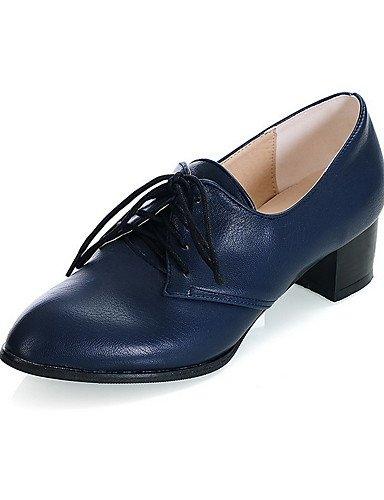 GGX/ Damen-High Heels-Lässig-Kunststoff-Blockabsatz-Absätze / Spitzschuh / Geschlossene Zehe-Schwarz / Blau / Braun / Rot blue-us8.5 / eu39 / uk6.5 / cn40