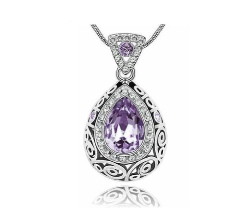 KATGI Fashion Austrian Crystal Angel Teardrop Pendant (Austrian Crystal Oval Necklace)