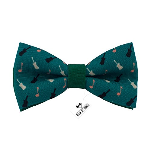Musical bow tie pre-tied pattern unisex shape, by Bow Tie House (Medium, Guitar Green)