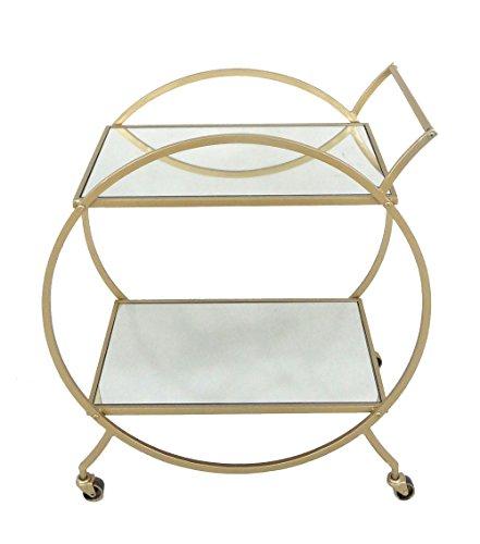 Sagebrook Home 12295 Metal & Glass Round Bar Cart, Gold Metal, 27.5 x 14.25 x 30.25 - Bar Gold Cart Metal